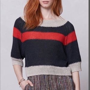 ANTHROPOLOGIE Cropped linen sweater. Size M